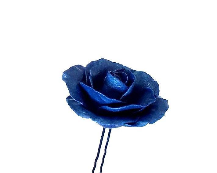 Mariage - Blue Roses Wedding Hair Accessories, Wedding Hair Accessory pin Bridesmaid Jewelry, Deep Blue Rose, Bridal hair pins