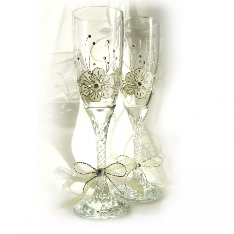 Wedding Gles Hand Painted Toasting Champagne Flutes Set Of 2