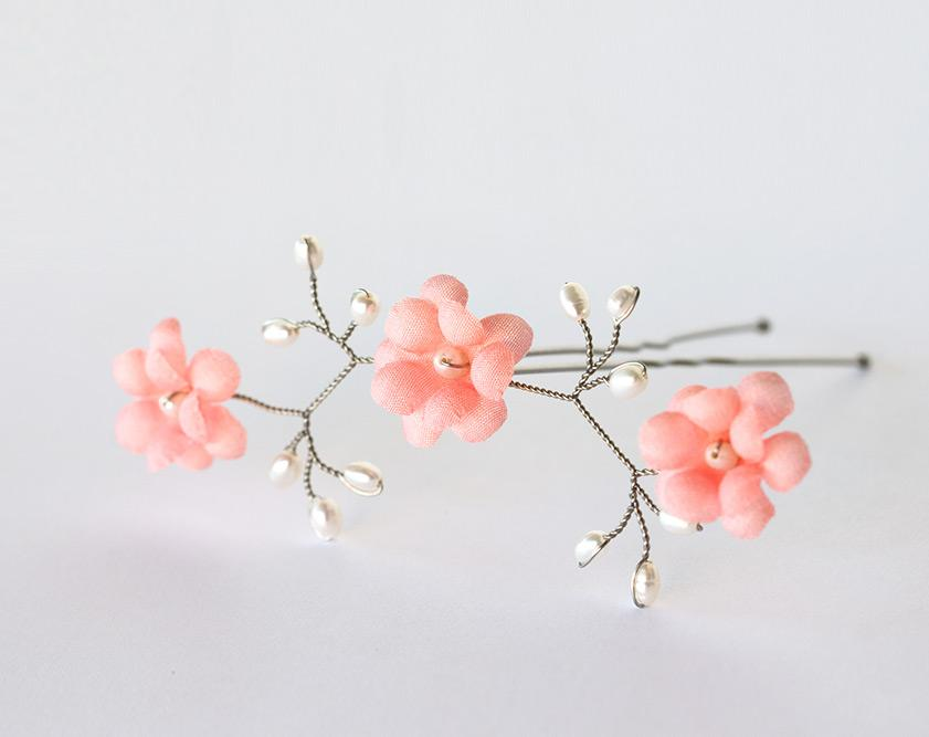 Coral flowers hair flowers pin bridal hair pin bright pink coral flowers hair flowers pin bridal hair pin bright pink flowers coral wedding hair accessories flowers hair pin wedding flower mightylinksfo