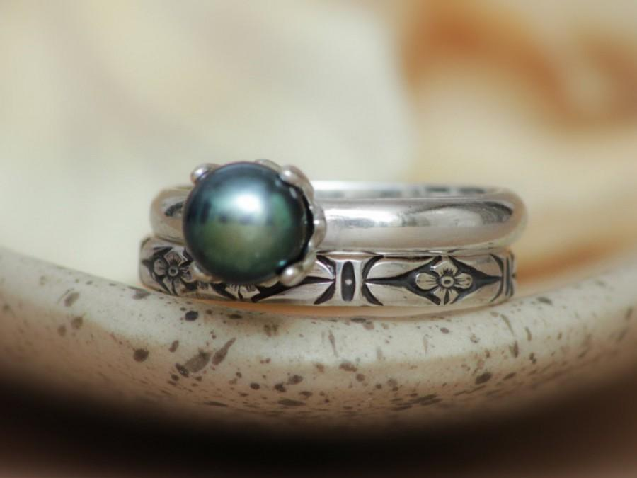 Mariage - Art Deco Black Pearl Wedding Set in Sterling - Silver Forget-Me-Not Narrow Band and Black Pearl Engagement Ring Set - Mysterious and Elegant