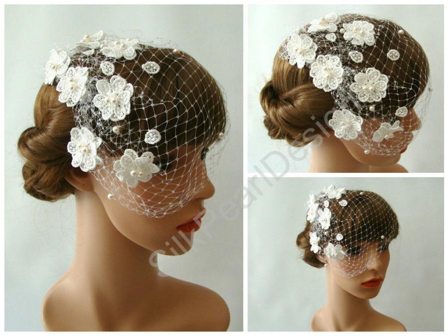 Wedding - Blusher Veil with Flowers – Bridal Birdcage Veil – Flower Hair Pieces with Birdcage Veil – Floral Hair Piece – Bird Cage Head Piece