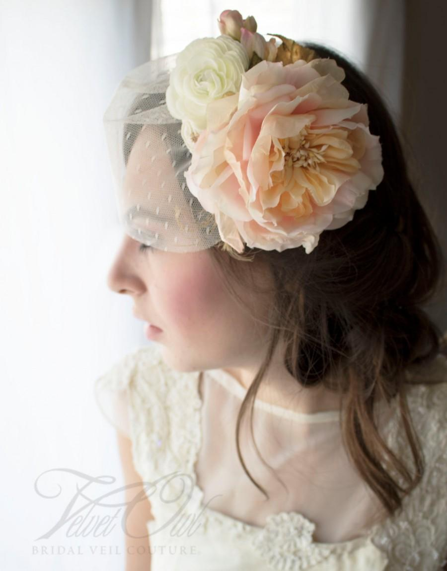 Hochzeit - Bridal wedding hat Ivory Blush pink gold birdcage veil silk flowers golden leaves detachable veil - CLARA THERESE