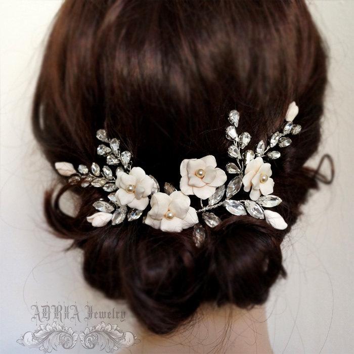 Hochzeit - Bridal Head Piece, Ivory Bridal Hair Adornment Large Wedding Hair Combs Rhinestone Gold Bridal Hair Piece Ivory Wedding Hair Vines T121201