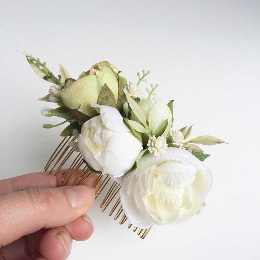 Ivory Silk Floral Bridal Comb Flower Comb Rustic Wedding Headpiece