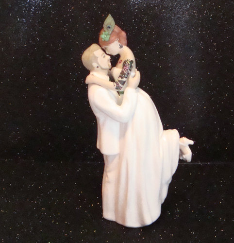 Wedding - Tattooed Wedding Cake Topper Custom Painted and Personalized to Resemble You
