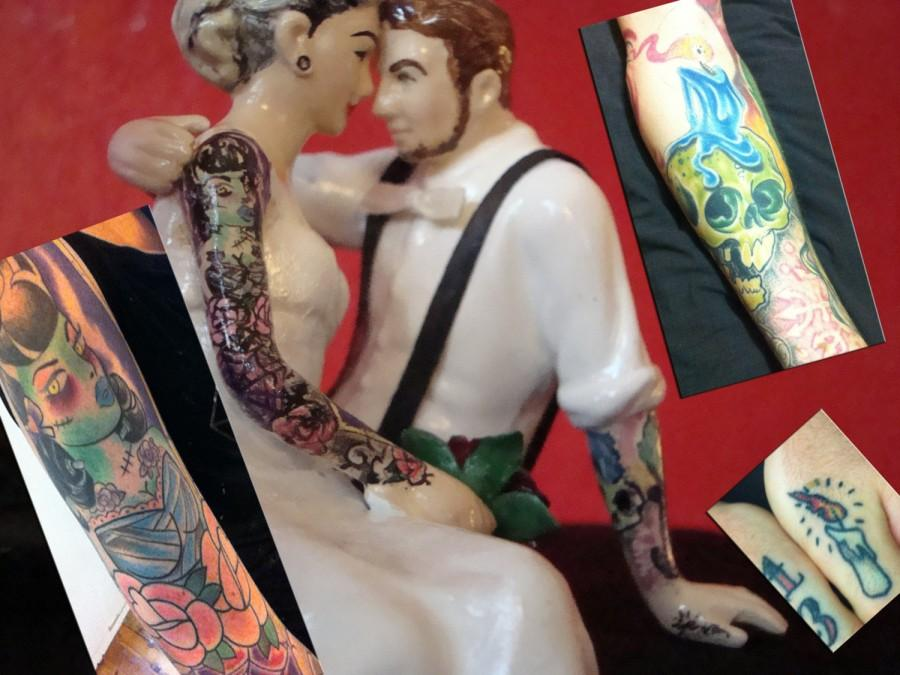 Mariage - Tattooed Wedding Cake Topper . Full Bride and Groom Tattoos . Custom Painted and Personalized to Resemble You
