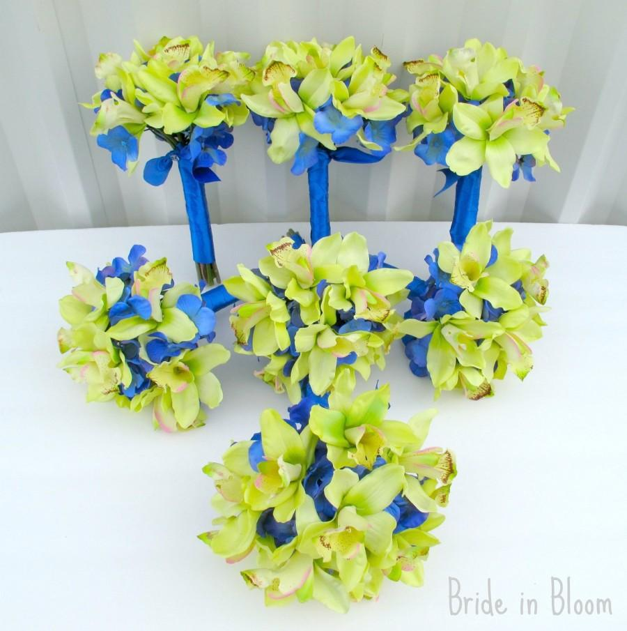 Wedding Bouquets Green Orchids Royal Blue 13 Piece Set Silk Bridal