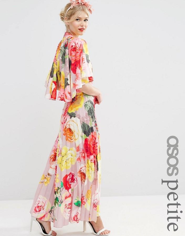 Mariage - ASOS Petite ASOS PETITE WEDDING Pleated Maxi Dress with Drape Back Cape Sleeve