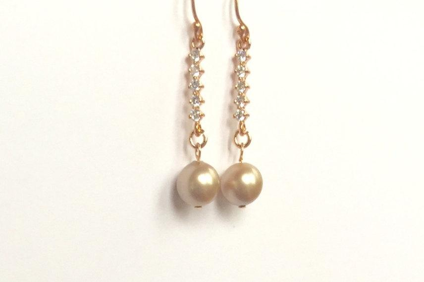 Свадьба - Bridesmaids Champagne Pearl and 14K Rose Gold Filled Earrings,AAA Swarovski Pearls,CZ Cubic Zirconia Connectors,Bridal Jewelry,Wedding