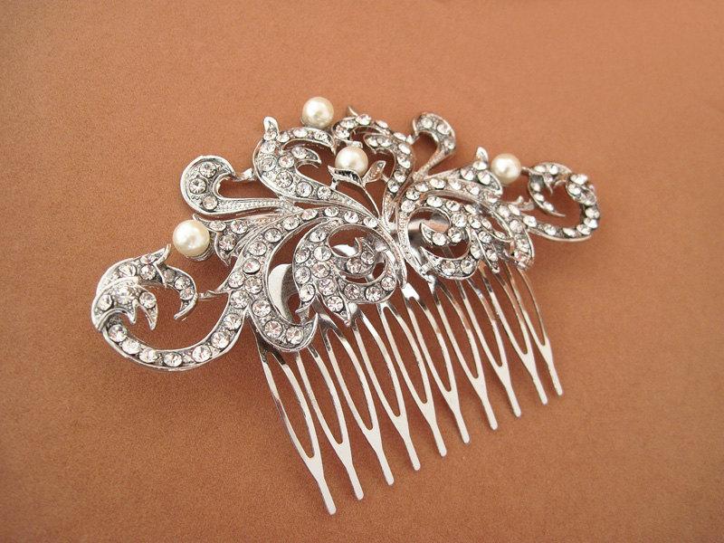 Свадьба - Scrolling Vine design hair comb,Vintage inspired  hair comb, Bridal pearl headpiece , Bridal rhinestones headpiece, Bridal head piece