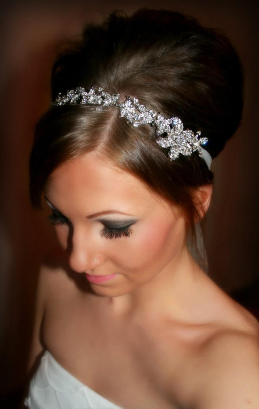 Свадьба - Bridal Headband, Bridal Head Piece, SHAY, Rhinestone Headband, Wedding Headband, Tulle wedding, Wedding Headpiece, Wedding Accessory