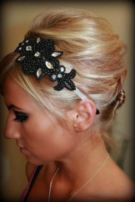 Свадьба - Black Beaded Headband for Black Wedding or Formal Event