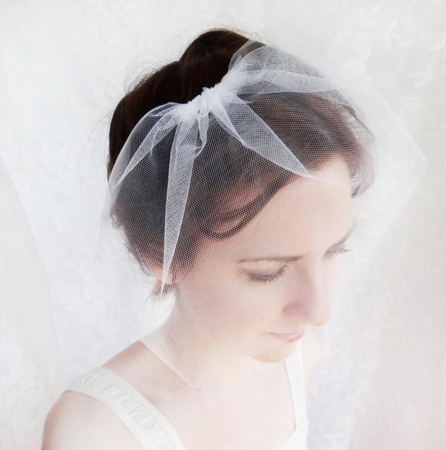 Mariage - small tulle birdcage veil, mini bridal veil, simple tulle wedge veil - PETAL VEIL - short bridal veil, hair accessories