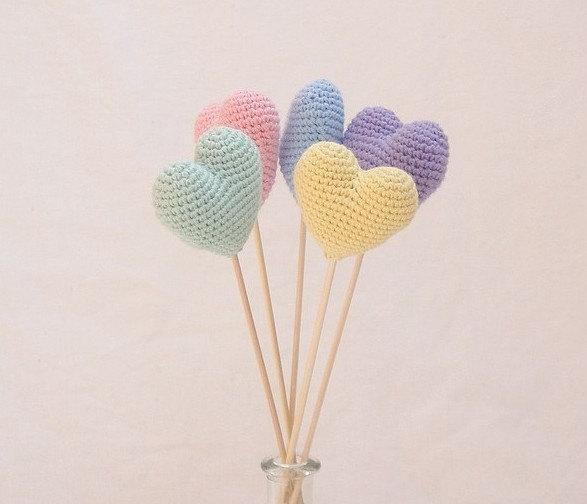 crochet pastel hearts bouquet set of 5 light pastel colors
