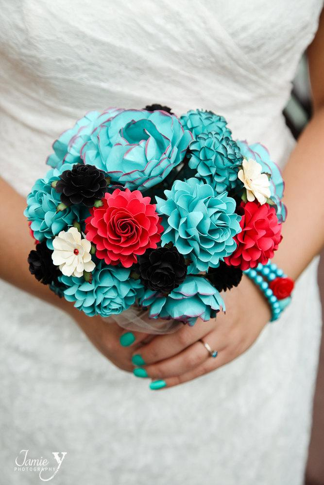 Wedding - FEATURE ON Offbeat Bride - Teal, Red and Black Rock and Roll Inspired Handmade Paper Flower Wedding Bouquet - Custom Colors