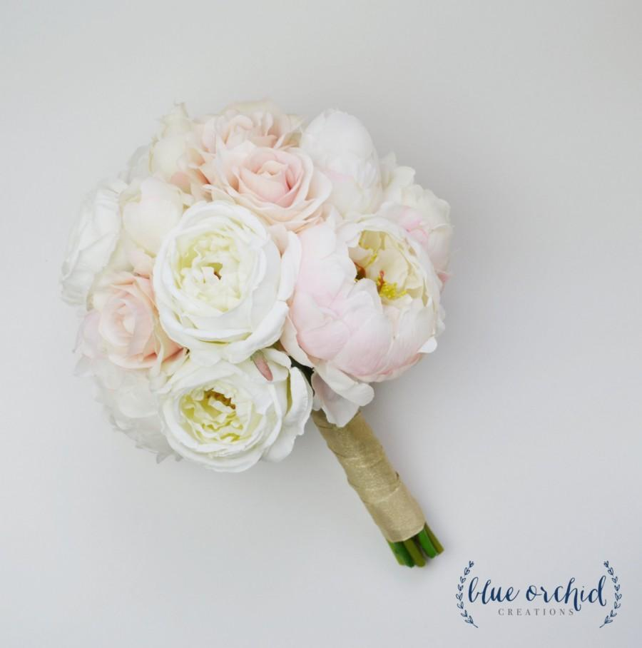 wedding bouquet silk wedding bouquet peony bouquet blush rose cream peony bouquet blush bouquet cream bouquet white bouquet - Garden Rose And Peony Bouquet