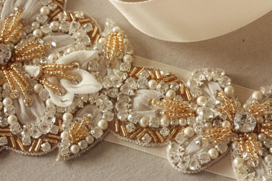 Свадьба - Wedding dress sash in ivory Gold - Magnolia Gold ( Made to Order)