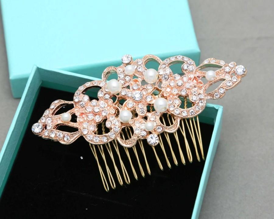 Hochzeit - Yellow Gold,Rose Gold Hair Comb, Silver Hair Comb, Pearl Headpiece, Bridal Headpiece,Rhombus Comb, Vintage Comb,Vintage Brooch Pin