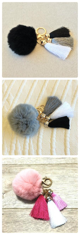 Mariage - Fashion Fluffy Rabbit Fur Pom Pom, Fur Pom Ball Bag Charms, Pom Pom Ball Keychain, Pom Pom