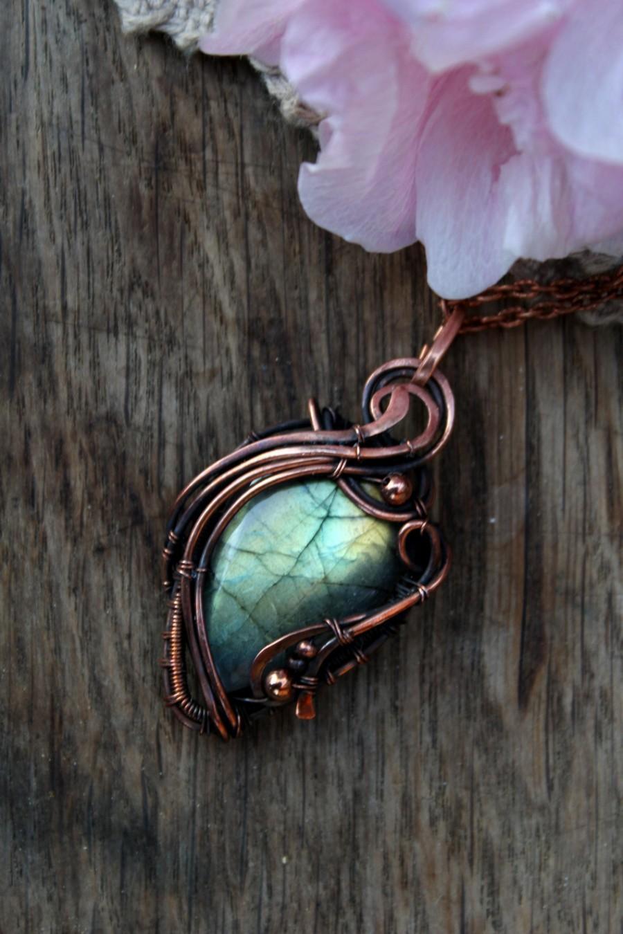 Copper Labradorite Pendant Bohemian Pendant Amulet Necklace