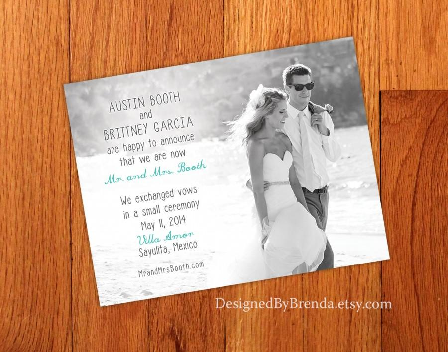Just Married Wedding Announcements Double Sided Any Colors Photo On Both Sides Pefect For Destination Or Elopement