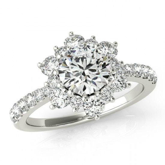 gia certified 050 carat diamond flower engagement ring diamond engagement rings for women diamond flower lotus halo rings 1 carat tw - Flower Wedding Rings