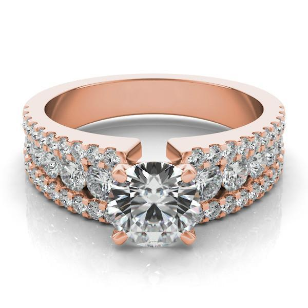 Wedding - Graduated Diamond & Forever One Moissanite 14k Rose Gold Ring