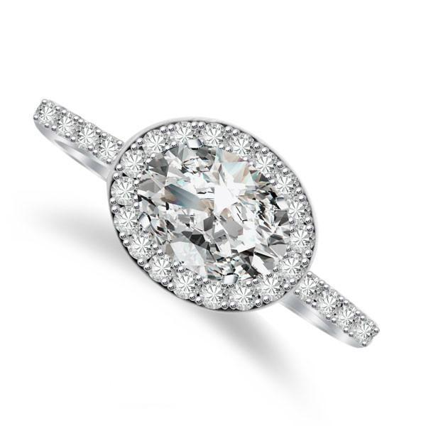 Oval Forever One Moissanite & Diamond East-West Ring ...