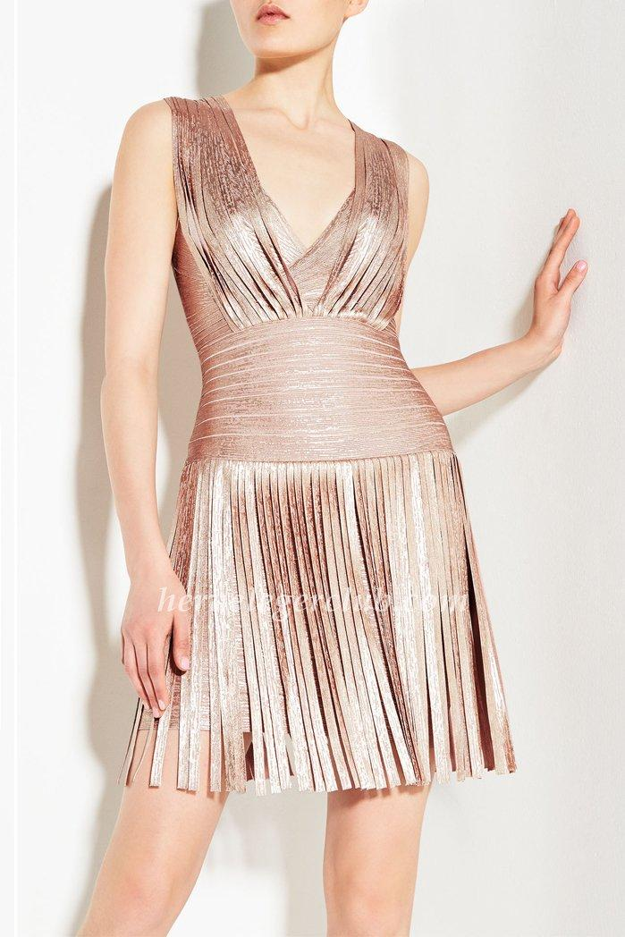 Wedding - Rose Gold Draped Herve Leger Bandage Dress [Herve Leger Sleeveless Dresses] - $179.00 : Herve Leger Dresses