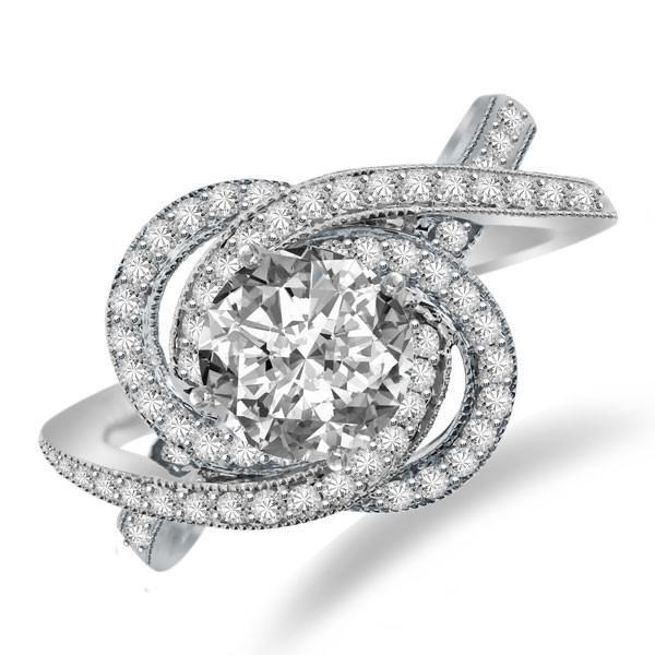 Wedding - Forever One Moissanite & Diamond Swirl Halo Engagement Ring, Moissanite Bridal Jewelry, Moissanite wedding sets