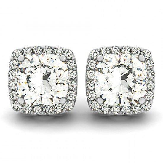 Wedding - Cushion Moissanite & Diamond Halo Stud Earrings, Anniversary Gifts for Women, Wedding Jewelry, Designer, Stud Earrings, Pave
