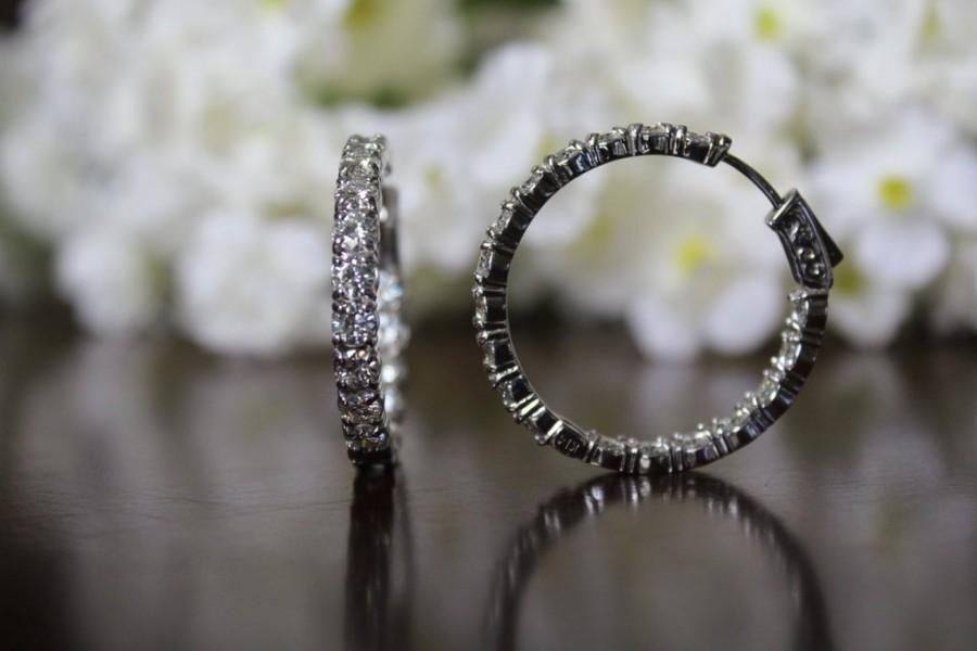 5 Carat Forever Brilliant Moissanite Hoop Earrings 14k White Gold 30mm Hoops Round Anniversary Jewelry