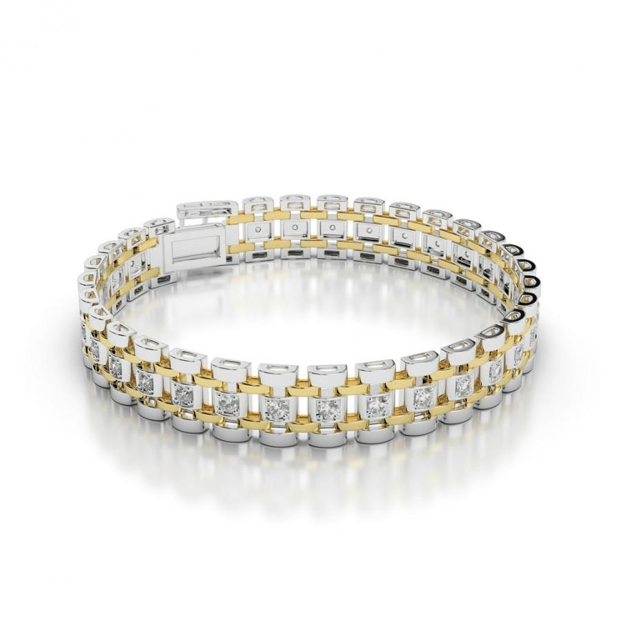 Men S Diamond Link Bracelet 14k Two Tone Bracelets For