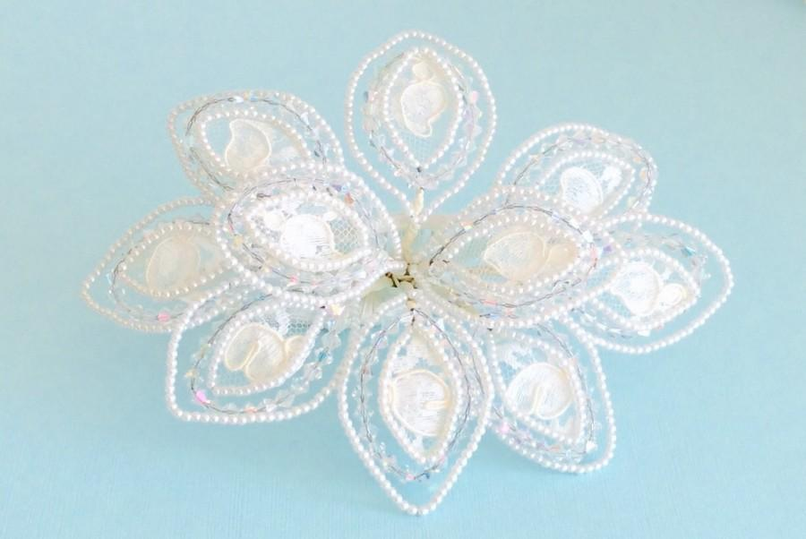 Свадьба - Bridal Headpiece w/Veil, hand beaded w/ Swarovski Crystals, Faux Pearls ~ 4 layer Tulle Fingertip Veil ~ Bridal Accessory