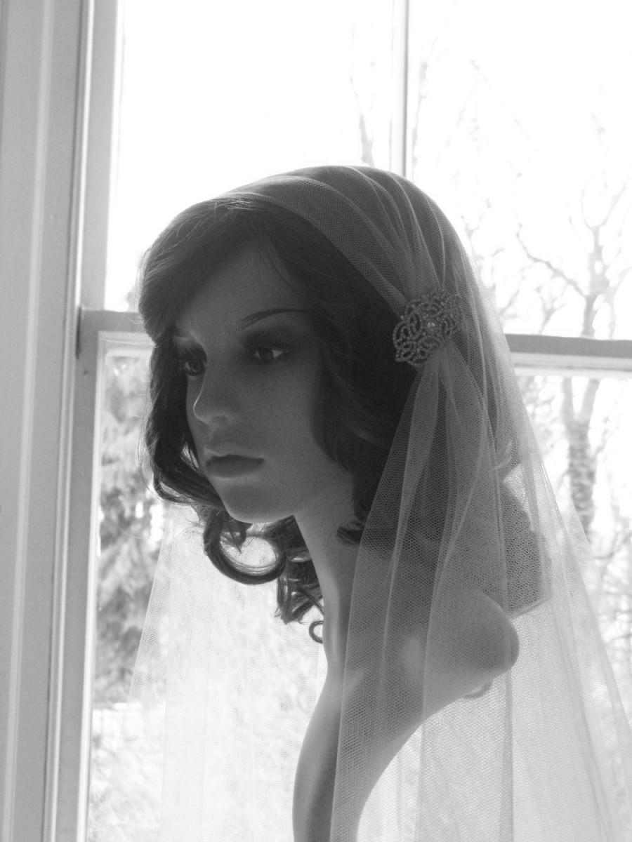 Wedding - Vintage style veil -  couture bridal cap veil -1920s wedding  veil - Augusta