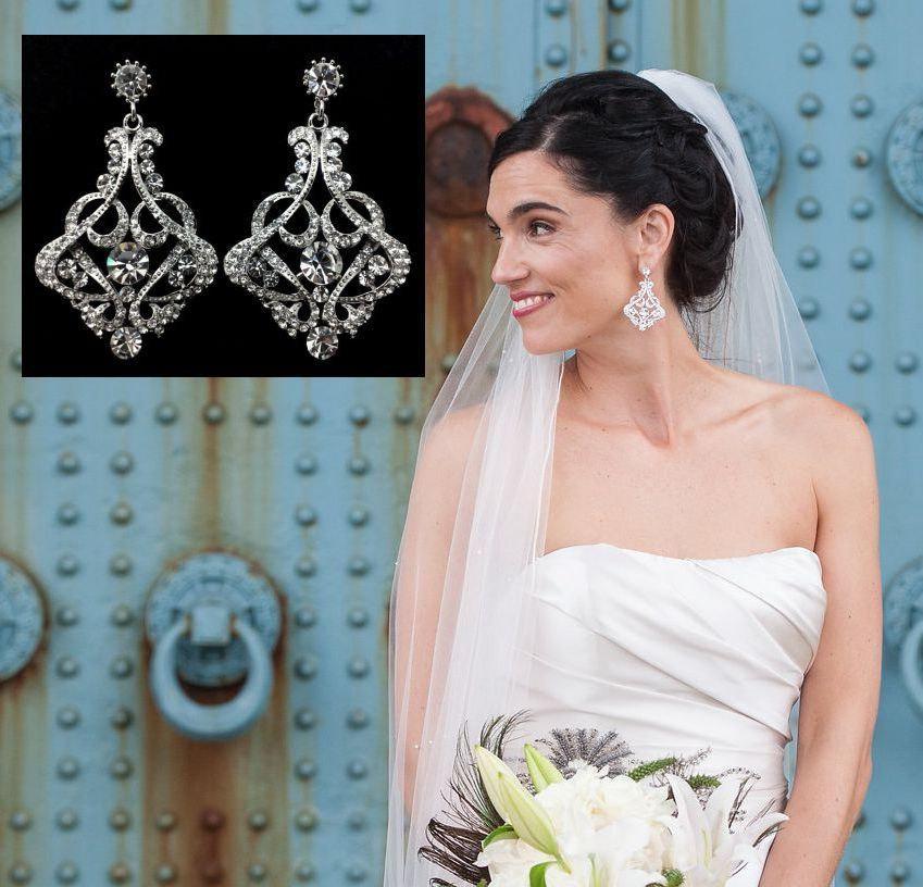 Art Deco Bridal Earrings Gatsby Statement Wedding Victorian Jewelry Swarovski Crystal Karmen
