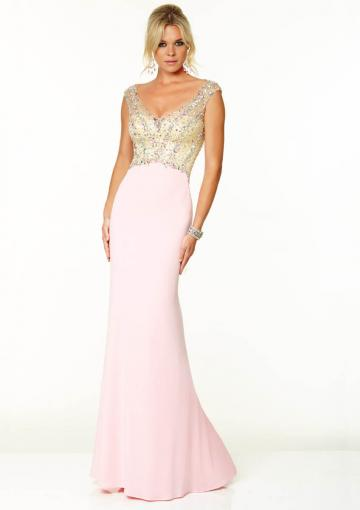 Wedding - Beading Pink Blue V-neck Sleeveless Chiffon Tulle Floor Length