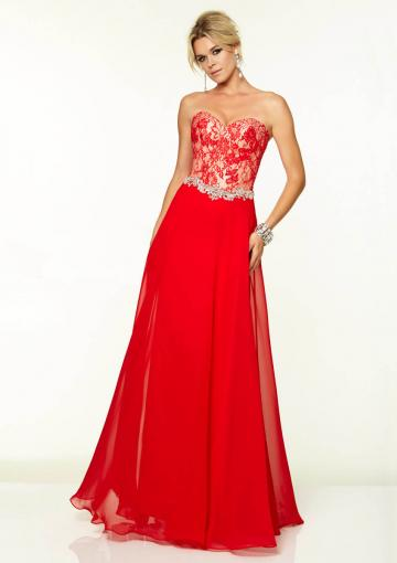 Wedding - Sweetheart Blue Red Appliques Beading Sleeveless Floor Length