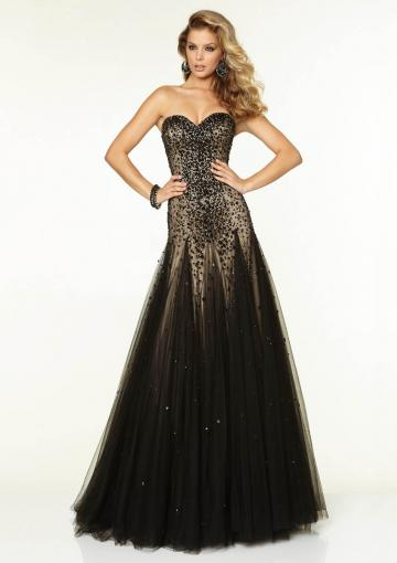 Wedding - Beading Sweetheart Black Champagne Sleeveless Lace Up Tulle Floor Length Ball Gown