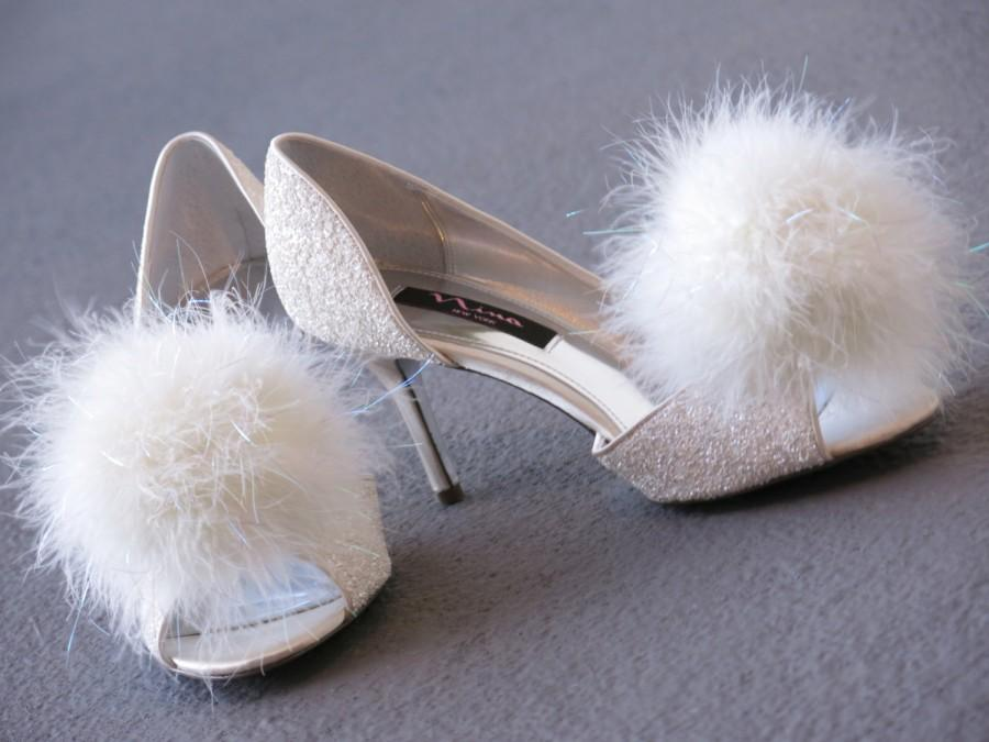 Wedding - Feather Shoe Clips,pair,Shoe Bling, wishie, dandelion, Tinkerbell, fairy, snowball, white ivory, lime, black, navy,hot pink