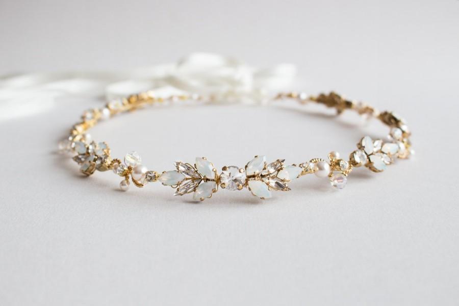 Свадьба - Opal, Clear and Gold  Crystal Rhinestones Bridal Headband  - Sparkling Gold and White Wedding Crystal Head Piece