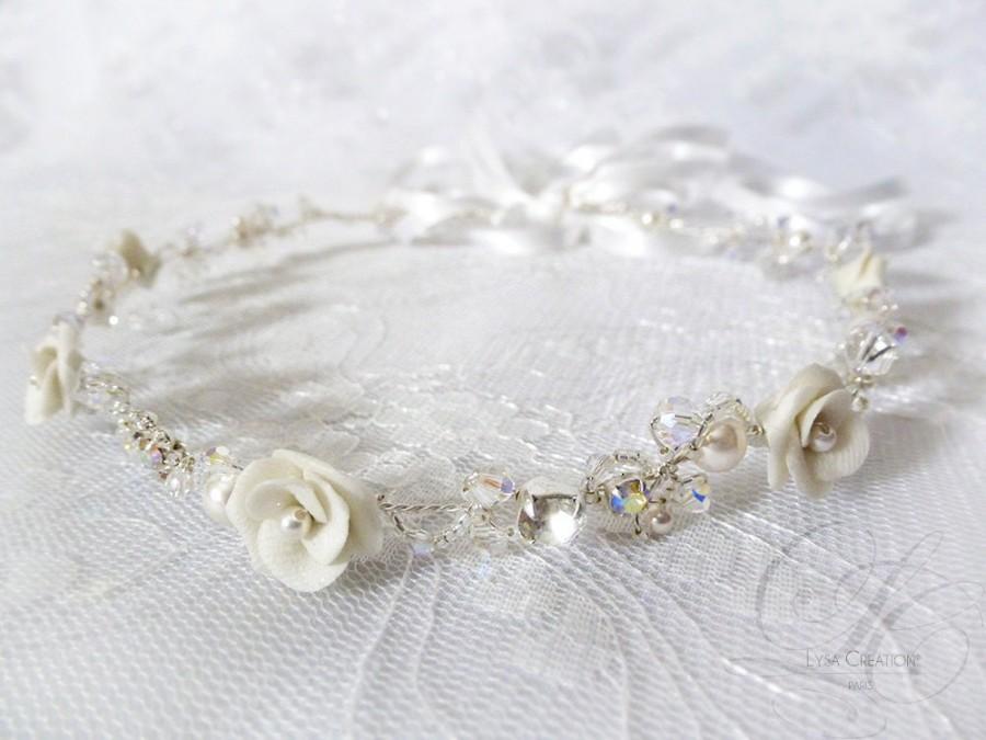Свадьба - White Bridal Headband - Swarovski Crystal Bridal Headband - Bridal Hair Crown - Sparkling Wedding Crystal Tiara