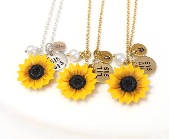 Wedding - Yellow Sunflower, Lil Sis, Mid Sis & Big Sis Necklace, Gift for Sisters, Personalized Necklace, Custom Gift, Initial Necklace, Sister Gift
