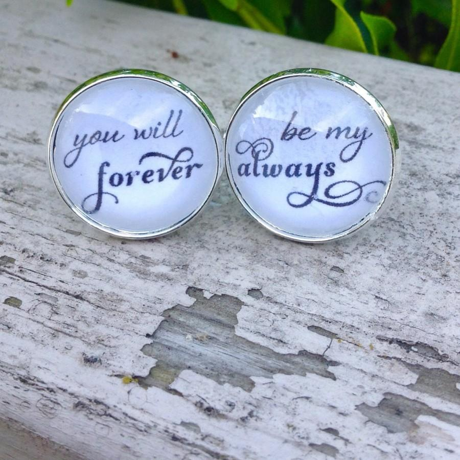 Mariage - Wedding Cuff Links, Groom cufflinks,  Always & Forever,Groom Gift