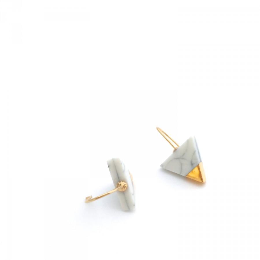 Mariage - Marble earrings, Porcelain earrings, white minimalist earring, geometric triangle earrings, porcelain jewelry, gold dipped earrings