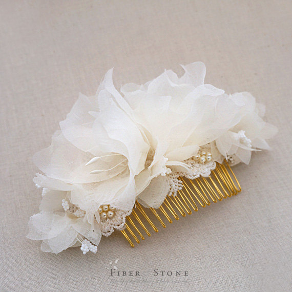 Boda - Pure Silk Wedding Hair Piece, Wedding HairPiece, Bridal Head Piece, Wedding Head Piece Gold Bridal Flower Comb, Pearl Wedding Hair Accessory