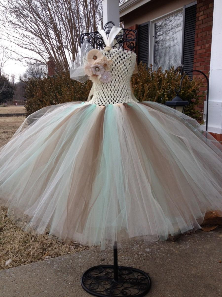 Burlap lace with mint accent couture flower girl tutu dress burlap lace with mint accent couture flower girl tutu dress shabby chic wedding rustic wedding country wedding ombrellifo Gallery