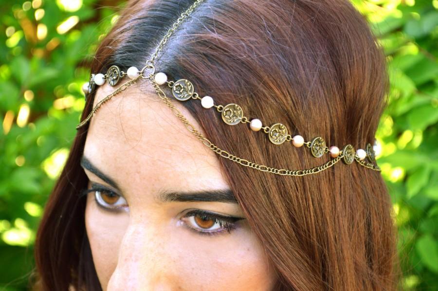 Wedding - Pearl Head Chain // Bohemian Head Accessory // Flower Headband // Boho // Wedding Hair Accessory // Statement Head Piece