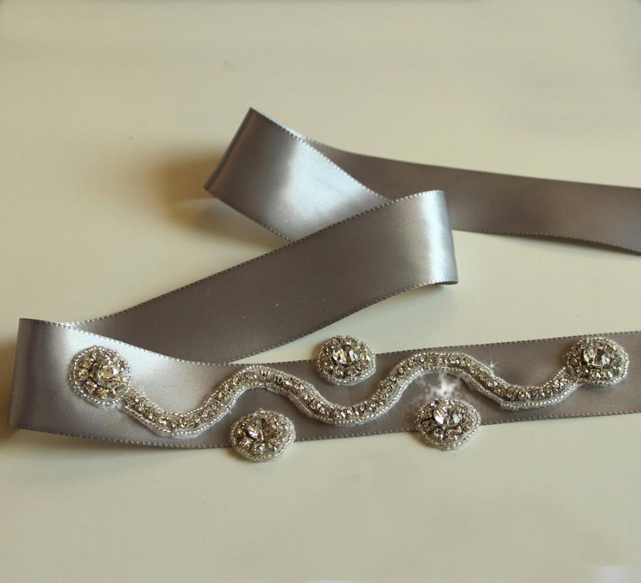 Mariage - Bridal Belt Sash Wedding Dress Belt Rhinestone Belt  Beaded Gray Satin Ribbon Handmade.