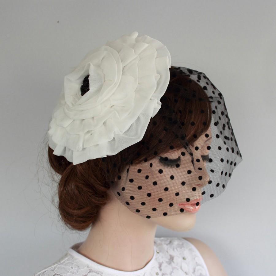 Mariage - Fabric Flower Headdress Detachable Polka Dot Tulle Veil Alternative Blusher Silk Organza Cocktail Hat Modern Wedding Handmade